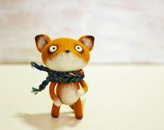 Felt doll - Fox in a scarf. Handmade toys needle felted doll by VladaHom