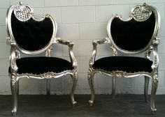 Glamorous Black on Silver Filigree Hollywood by VENETIANSOCIETY, $1299.00