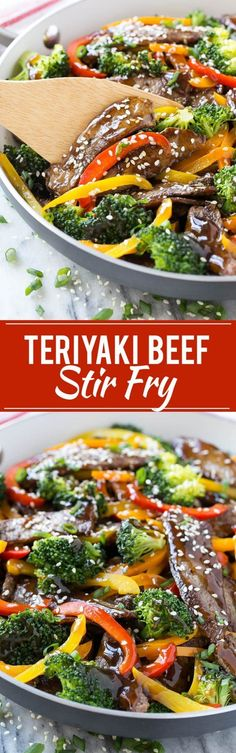 This recipe for teriyaki beef stir fry is tender slices of beef sauteed with a variety of colorful vegetables, all coated in a quick and easy homemade teriyaki sauce. #beeffoodrecipes