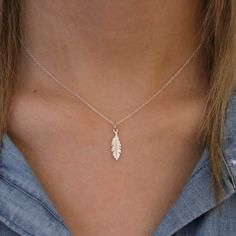 Tiny Feather Necklace Sterling Silver Tiny by TNineandCompany
