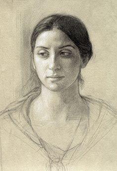 "Contemporary Drawing - ""Portrait of Deidre, Study"" (Original Art from Helen Uger)"