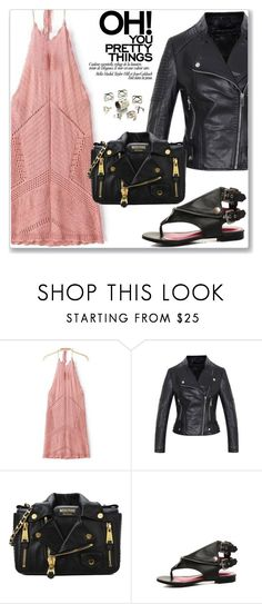 """""""Street Style"""" by jecakns ❤ liked on Polyvore featuring Moschino, vintage, StreetStyle, sandals, bikerjacket, zaful and chokerdress"""