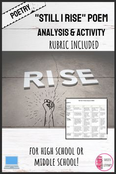 """Want to engage students with poetry and writing & have no prep?These analyzing poetry analysis questions for """"Still I Rise"""" by Maya Angelou & a writing prompt with rubric is what you need! Includes practice for analysis, embedding quotations, & personal creative writing, in one digital google slides mini-lesson. Perfect for high school or middle school students. Works well for in the classroom or virtual learning and can be digital or printable. Remember, April is National Poetry Month!"""