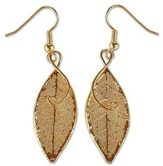 Natural Leaf Gold-plated Earrings, 'Forest Duet' NOVICA. $29.49. Fair Trade Product. 24k gold plate and tree leaf. Handmade by Thai Artisan, Danai. Because natural leaves are used, size and shape will vary slightly. Hook earrings. Save 52%!