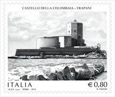 """Francobollo ordinario appartenente alla serie tematica """"il Patrimonio artistico e culturale italiano"""" dedicato al Castello della Colombaia in Trapani"""