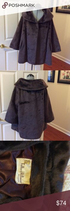 Vintage faux fur Amazing vintage faux fur by Brazotta distributed by Fuller & Hillman of Kingsport. Brown, double breasted button front with pockets. No size found but appears to be a large to x large with 3/4 length sleeves. Feels great on. Well made and good condition Brazotta Jackets & Coats