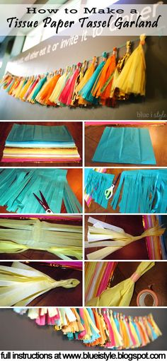 Simple tutorial for making a Tissue Paper Tassel Garland! Makes gorgeous decor…
