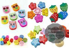 Alleen deze week shop je alle houten kinderkralen met korting! | www.bykaro.nl voor kralen, bedels en meer...