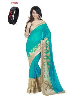 Bollywood Designer Turquoise Chiffon Saree With Free LED Watch - Bollywood Designer Sarees for indian woman