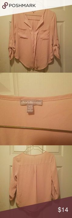 Blush Charlotte Russe Blouse Absolutely adorable.  Can be used both for the office or a night out. Have recieved so many compliments wearing this.    Offers and bundle!!! Charlotte Russe Tops Blouses