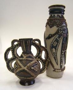Rorke's Drift Stoneware. tall vase by Joel Sibisi, 1975 and two-handled vase by Dinah Molefe,