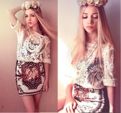 lace top& baroque skirt