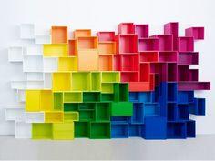 Bibliothèque composable laquée en MDF Ensemble mural modulable by Cubit by Mymito | design Cubit