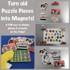 Puzzle Piece Magnets - a super fun way to display the kids photos & artwork on the fridge!