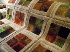 """ArtLady's """"Earth, Wind & Fire"""" Blanket fabulous example of mitered squares! Knitting Stitches, Knitting Yarn, Hand Knitting, Knitting Projects, Knitting Designs, Knitting Patterns, Knitted Afghans, Knitted Blankets, Crochet Quilt"""