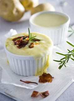 Potato Soup covered with Melted Swiss Cheese | Homemade with Love