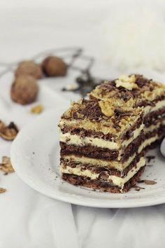 Chocolate Nut Cake with Buttercream Romanian Desserts, Romanian Food, Walnut Cake, Russian Recipes, Dessert For Dinner, Desert Recipes, Christmas Desserts, Cake Cookies, Chocolate Recipes