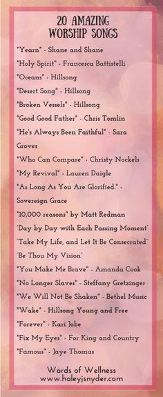 Faith Friday 20 Amazing Worship Songs  www.haleyjsnyder.com/amazing-worship-songs