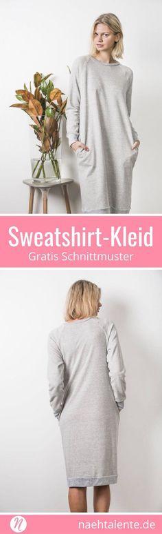 Sweatshirt-Kleid für Damen gratis Schnittmuster. Größe S - XL. Für alle warmen Sweatshirt-Stoffe ✂️ Nähtalente - Das Magazin für Hobbyschneider/innen mit Schnittmuster-Datenbank ✂️ Free sewing pattern for a sweatshirt dress for women in size S - XL ✂️ Nähtalente - Magazin for sewing and free sewing pattern ✂️ #nähen #freebook #schnittmuster #gratis #nähenmachtglücklich #freesewingpattern #handmade #diy