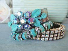 Leather cuff upcycled belt bracelet 'Flora' by slashKnots on Etsy, $110.00