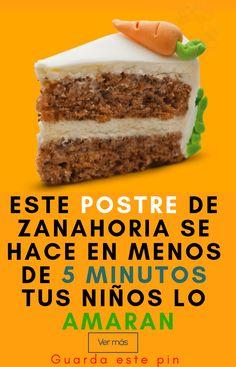 Pastel de zanahorias fácil de preparar – 10 Ideas No Bake Desserts, Easy Desserts, Cake Cookies, Cupcake Cakes, Sweet Recipes, Cake Recipes, Mexican Dessert Recipes, Pan Dulce, Bread Cake