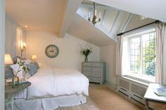 Love the ceiling, and how it indents near window. This adds such character to this bedroom space . Cottage Style Homes, Country Style Homes, Cottage Chic, Dream Bedroom, Home Bedroom, Bedroom Ideas, Master Bedroom, Loft Conversion Bedroom, Attic Conversion