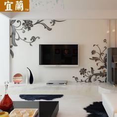 宜蘭 亚克力水晶立体墙贴现代3d创意电视背景墙抽象花藤装饰 059