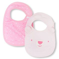 Newborn Baby Layette Heart Print And Bear Bib 2-Pack - Pink - The Children's Place