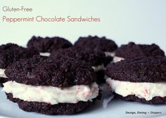 Melt-in-your-mouth yummy! Gluten-Free Peppermint Chocolate Sandwiches (from Design, Dining & Diapers) Gluten Free Peanut Butter Cookies, Gluten Free Sweets, Gluten Free Chocolate, Dairy Free Recipes, No Bake Treats, Yummy Treats, Sweet Treats, Peppermint Chocolate, Peppermint Cookies