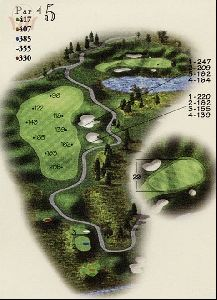 The beautiful par 4 5th hole at 417 yards from the back tees