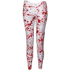 Pre-owned Black Milk Blood Splatter Leggings ($37) ❤ liked on Polyvore featuring pants, leggings, bottoms, white, elastic waistband pants, legging pants, stretch waist pants, white pants and white trousers