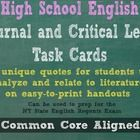 High School English Journal and Critical Lens Task Cards