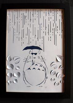 Tableau Totoro papier découpé blanc, papercut sur fond papier couleur fait main, cadre 30x24cm de la boutique Artgraphmoi sur Etsy