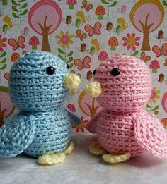 Crochet Lovebird Dolls Blue Bird and Pink Bird by lukesmom6