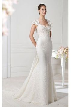 CARLA - A-line V-neck Watteau train Lace Wedding dress