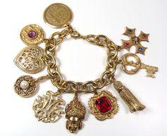 Vintage Heavy Gold Costume Charm Bracelet Fob by WickedCrafts