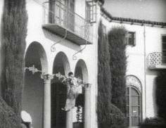 Buster Keaton in a  scene from Parlor Bedroom and Bath filmed at his Italian Villa