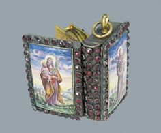 Breviary shaped clock. Gilded silver, ruby, painted enamel. by ErbB Albrecht. circa 1700.
