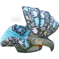 Zoology Sea with Tiffany Blue Infant Car Seat Cover