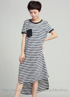 Other – Women Loose Striped Short Sleeved Dress – a unique product by Mrszhou via en.DaWanda.com