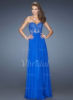 A-Line/Princess Strapless Floor-Length Appliques Lace Chiffon Zipper Up Strapless Sleeveless No Pool Other Colors Spring Summer Evening Dress