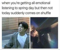 bts spring day vs not today. bts memes //BTS- so fucking true tho Kookie Bts, Bts Bangtan Boy, Bts Boys, Namjoon, Taehyung, Jimin Hot, Btob, Vixx, Les Bts