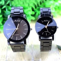 SALE! Stainless Steel Set of Watches⏱ Stainless Steel Set of 2-Black Quartz His and Hers Wrist Watches⏱ See Images for Detail. Accessories Watches