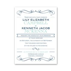 exhilarating wedding invitation | typography wedding invites at Ann's Bridal Bargains