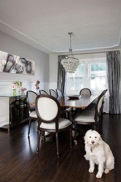 Jodie Rosen Design - dining rooms - Benjamin Moore - Gray Cloud - Robert Abbey Bling Chandelier, gray paint colors, gray wall colors, white ...