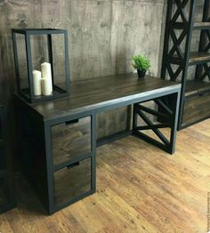 Beautiful wood and metal desk Welded Furniture, Iron Furniture, Steel Furniture, Industrial Furniture, Home Furniture, Furniture Design, Wood Steel, Wood And Metal Desk, Interior Design
