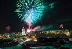 New Year's Eve fireworks over Røros - The New Year's Eve public firework display is illuminating the center of Røros, an UNESCO World Heritage Site and well known for its links to copper mining and copper works.