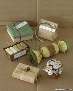 Green and Brown Gift Wrap | Martha Stewart Living - Extend your palette with pretty favors in green and brown that are a delight to behold. Familiar materials -- paper bags, cardboard boxes, crepe paper, twine -- are easily made into sophisticated packaging for small gifts and favors with ribbon or decorative paper.