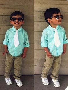 Cute baby clothes light blue casual shirts white tie..grandson would look adorable in this
