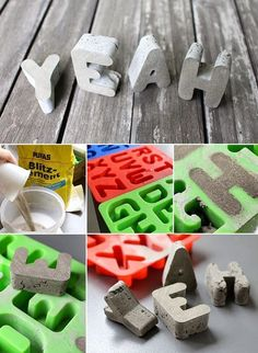 DIY: Dani von Gingered Things zeigt dir wie du aus Beton und einer Silikonform l… DIY: Dani from Gingered Things shows you how to use concrete and a silicone mold to make concrete letters yourself. Here's a tutorial. Cement Art, Concrete Crafts, Concrete Art, Concrete Projects, Concrete Design, Diy Projects To Try, Craft Projects, Diy And Crafts, Arts And Crafts